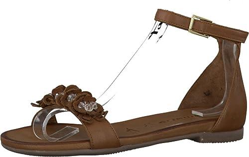 Tamaris Schuhe 1-1-28136-38 bequeme Damen Sandalette, Sandalen, Sommerschuhe für modebewusste Frau, braun (COGNAC), EU 38
