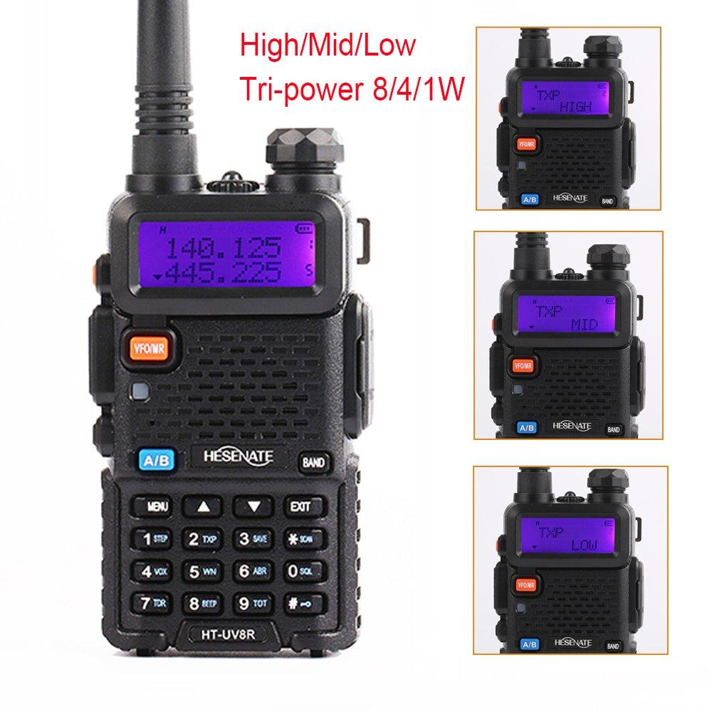 HESENATE HT-UV8R Two Way Radio 8-Watt High Power Dual Band 136-174/400-520MHz Tri-Power Output 8/4/1W w/1800mAh Battery Ham Radio