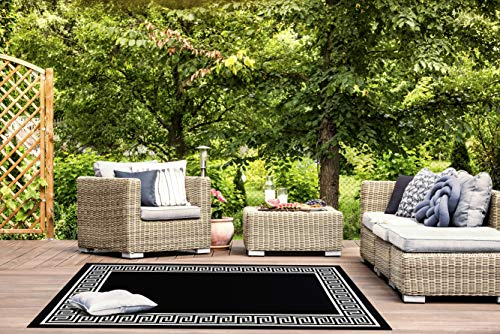 Great American Distributors Impressions Collection Greek Key Area Rug, Black (Key Greek Outdoor Rug)
