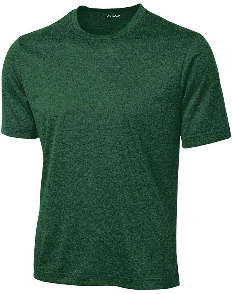 DRIEQUIP Men's Short Sleeve Moisture Wicking T-Shirt-ForestGreenHeather-XS by DRIEQUIP
