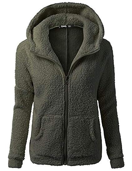 b447d198b01fe Hurrybuy Womens Jacket Coat Lady Hooded Sweater Coat Winter Warm Wool  Zipper Cotton