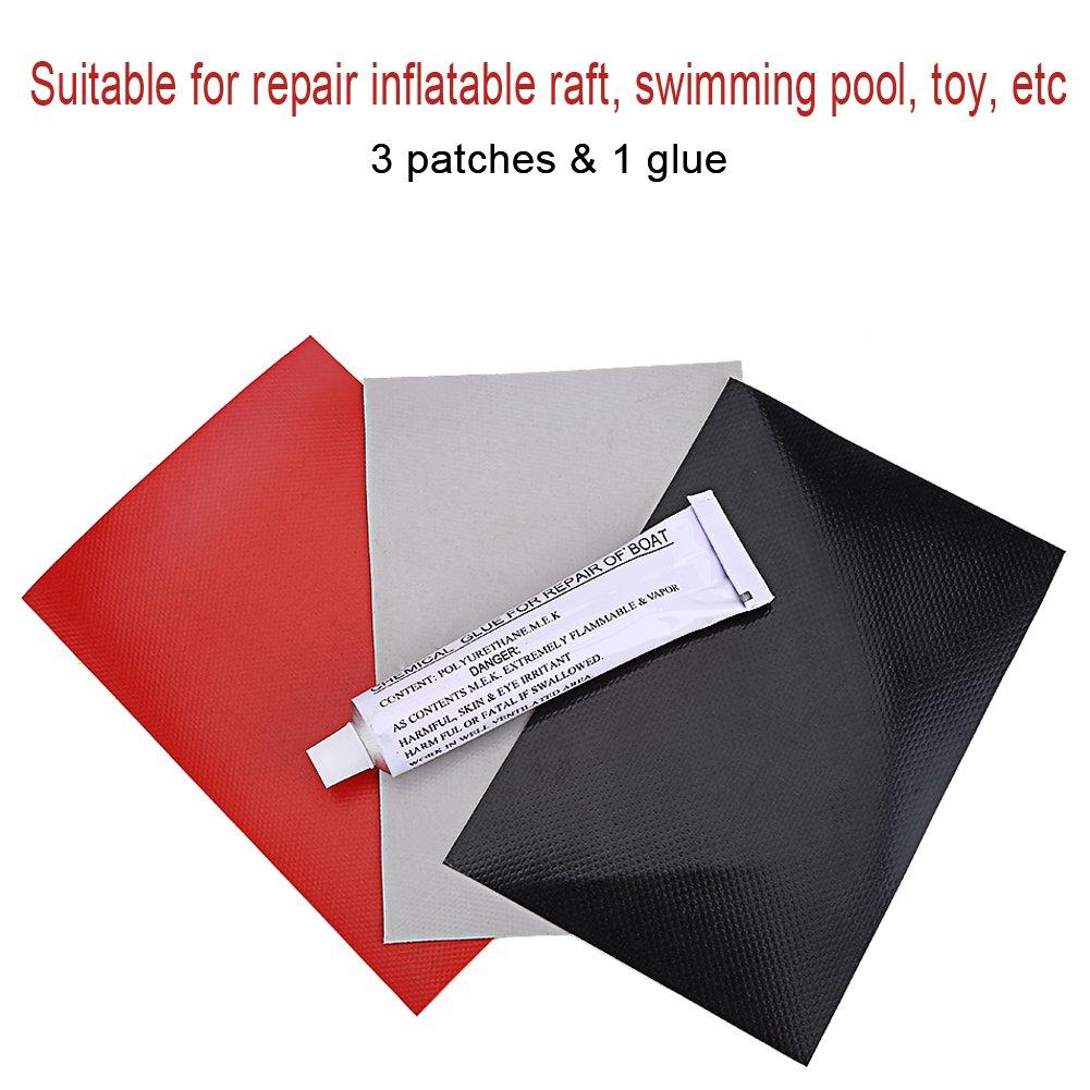 Fydun reparaci/ón de botes inflables 3 piezas parches de reparaci/ón de PVC con kit de juego de gule para juguete de piscina Inflatabel Raft