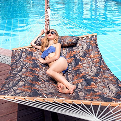 Lazy Daze Hammocks Quilted Fabric Double Size Spreader Bar Heavy Duty Stylish Hammock Swing with Pillow for Two Person (Dark Camouflage)