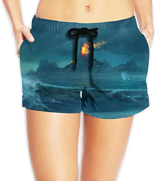 Janeither Unique Beach Shorts Sea Waves Island Fire Art Home Shorts Fast Drying Swimming Trunks Beachwear For Womens /& Girls