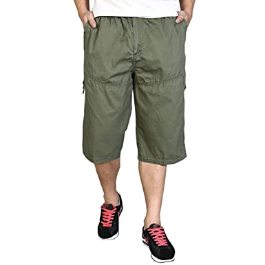 66039ca7093 Men s Summer Thin Style Plus Size Cropped Trousers Cotton Men Pants Casual  Relaxed Capris Army Green