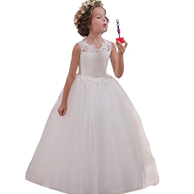 Fancy Kids First Communion Dress Flower Girl Dresses 0-12 Year Old Size 2