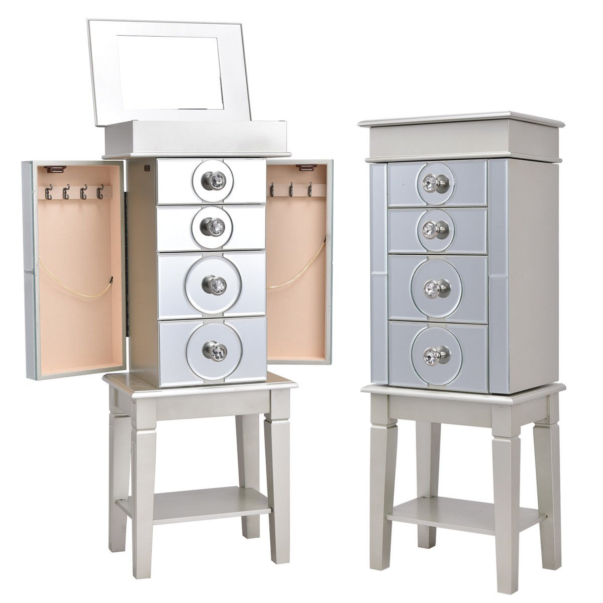 Gorgeous Glam Modern Mirrored Free Standing Jewelry Armoire Box Storage Cabinet 14'' × 9.1'' × 35''