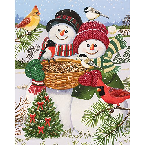 Bits and Pieces - 200 Piece Jigsaw Puzzle for Adults - Snow Couple Feeding The Birds - 200 pc Snowman Fun Jigsaw by Artist William Vanderdasson