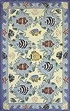 Momeni Rugs COASTCC-01BLU2680 Coastal Collection, 100% Cotton Hand Hooked Transitional Area Rug, 2'6'' x 8' Runner, Blue