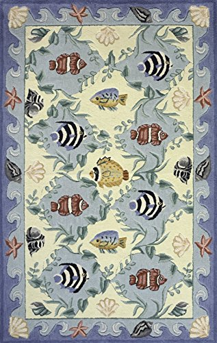 Momeni Rugs COASTCC-01BLU2030 Coastal Collection, 100% Cotton Hand Hooked Transitional Area Rug, 2' x 3', - Momeni Fish Coastal