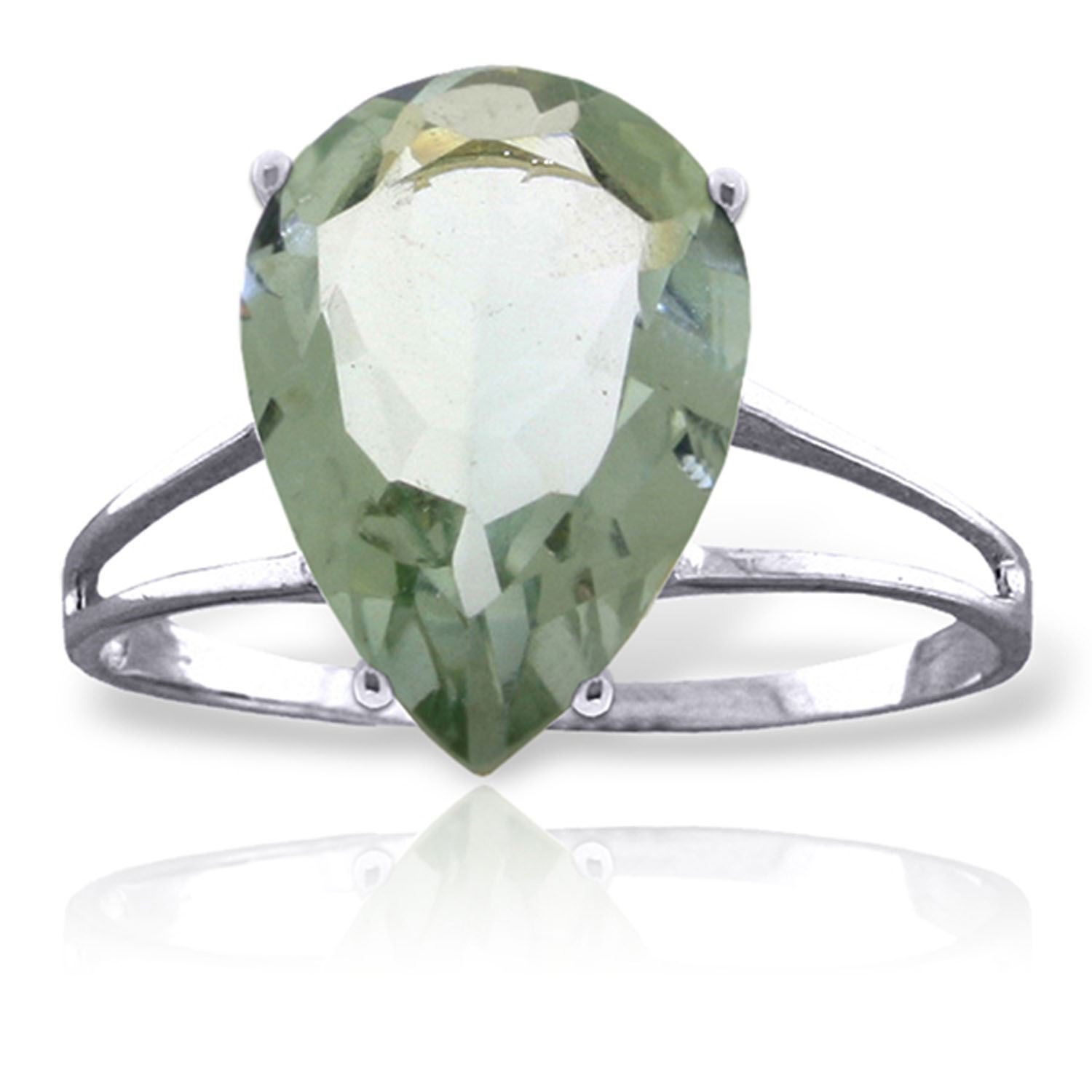 ALARRI 5 Carat 14K Solid White Gold Love Is A Verb Green Amethyst Ring Ring Size 7.5