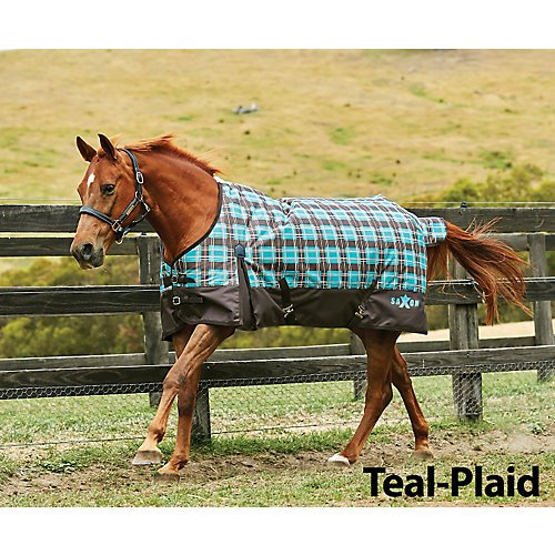 Saxon 1200D Ripstop Standard Neck Heavy Turnout Blanket with Gussets, Teal/Plaid, Size 75