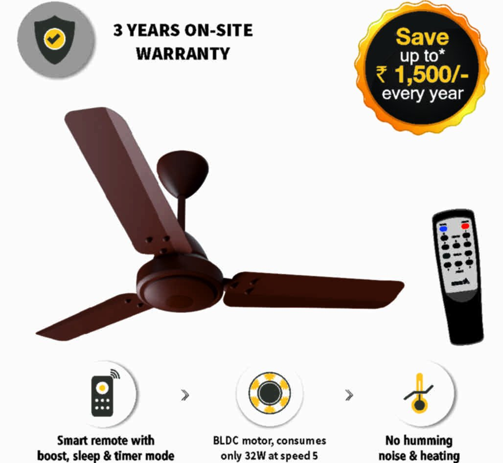 Gorilla Energy Saving 5 Star Rated 1050 Mm Ceiling Fan With Remote Control And Bldc Motor Matt Brown At Low S In India