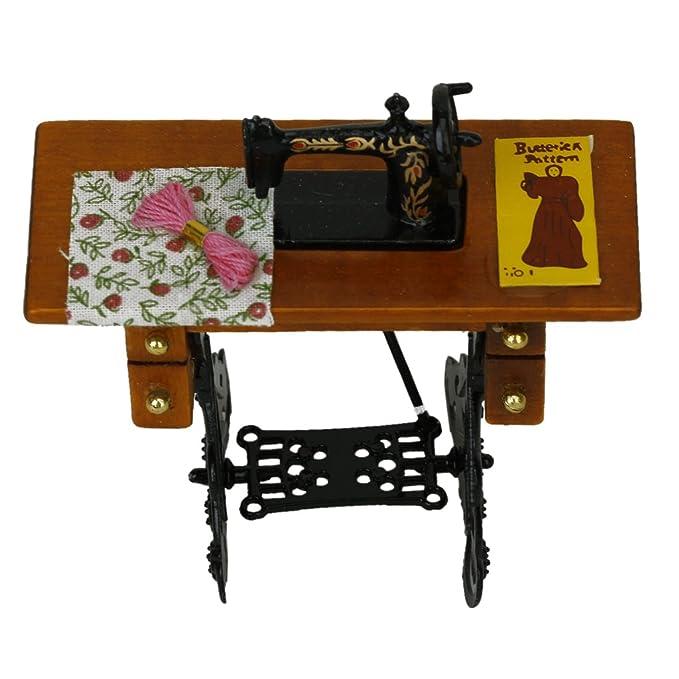 Generic - Máquina de coser miniatura de la vendimia con el paño para la escala 1/12 dollhouse decoration