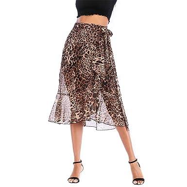 Falda de leopardo, mujeres gasa impresión floral falda de las ...