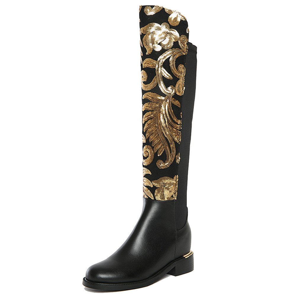 Nine Seven Genuine Leather Women's Round Toe Chunky Heel Sequins Over The Knee Handmade Boot (10, black)