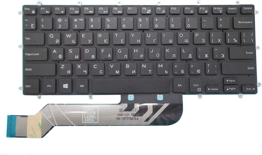 Laptop Keyboard for DELL Inspiron 5368 5378 7375 7460 5568 7560 7569 7572 5370 7370 7373 7573 Russia RU Black New