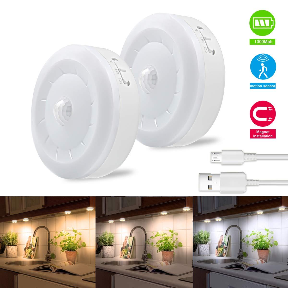 Puck Lights, Bason Motion Sensor Closet Light, 3 Color Temperature Adjustable USB Rechargeable Wireless Lighting Stick on Kitchen,Display Case,Wardrobe,2-Pack
