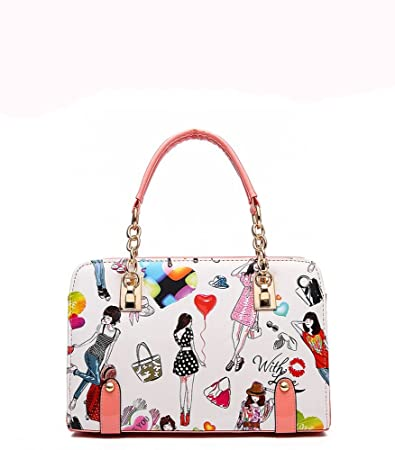 Amazon.com   iMaySon(TM) Womens Cartoon PU Leather Vintage Tote Bags Top  Handle Handbag(White)   Baby 9fa24b26f802a