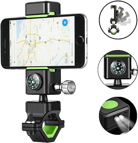 DAREN&KIWI Soporte móvil Bicicleta, Soporte Universal para Bici rotación 360 ° Ajustable, con Manillar para la Motocicleta y brújula para iPhone, Samsung Galaxy y Otros Dispositivos de 3