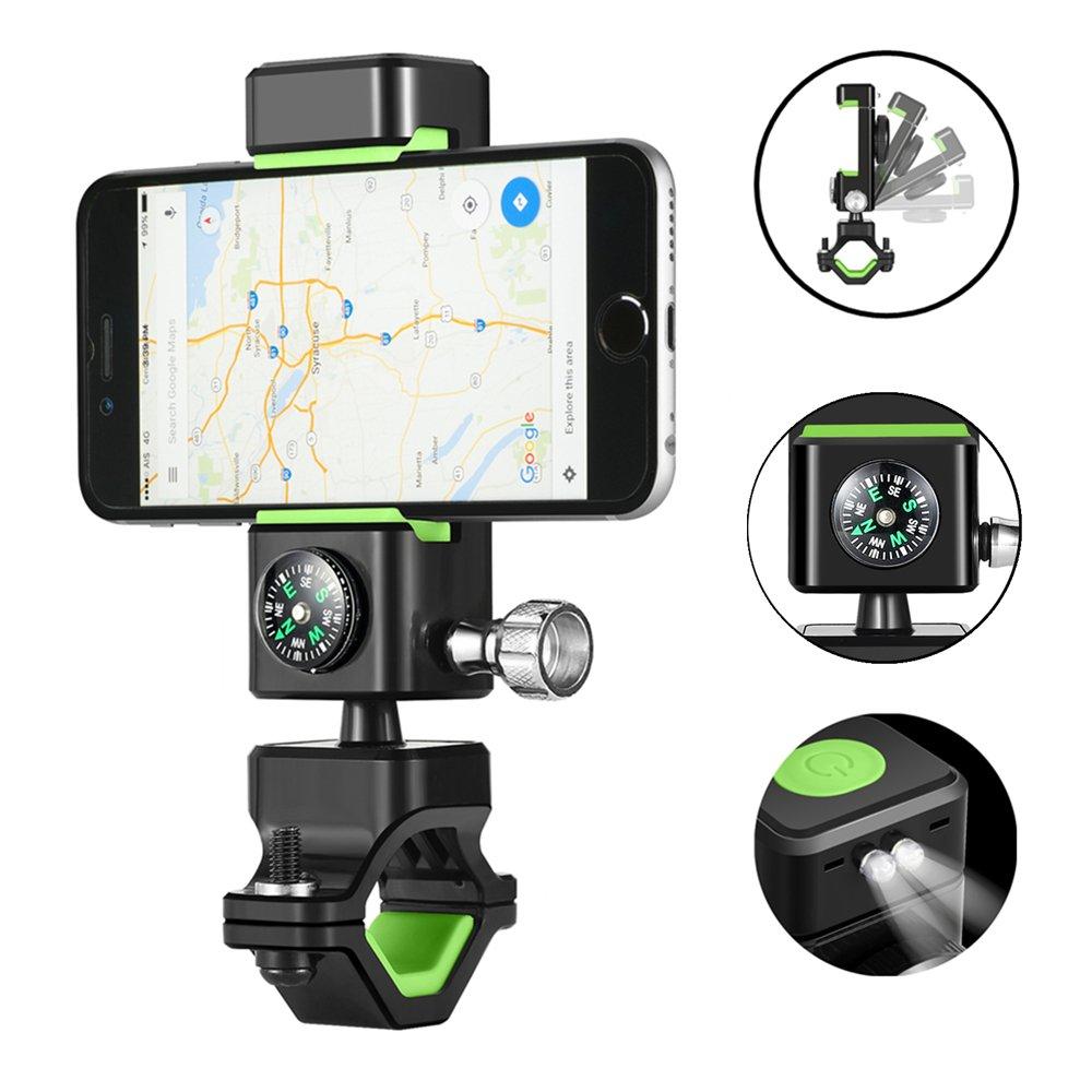 DAREN&KIWI Soporte móvil Bicicleta, Soporte Universal para Bici rotación 360 ° Ajustable, con Manillar para la Motocicleta y brújula para iPhone, ...
