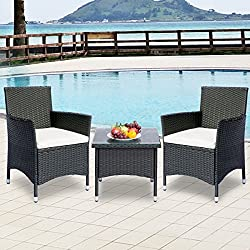 Leisure Zone 3 Piece Patio Furniture Sets Garden Set with Beige Cushion