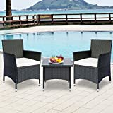 Leisure Zone 3 Piece Rattan Wicker Patio Furniture Bistro Sets with Beige Cushion (33.3 Inch)