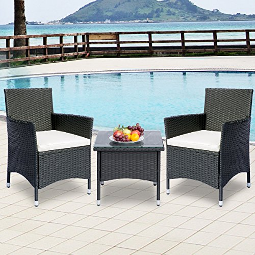 Leisure Zone 3 Piece Rattan Wicker Patio Furniture Sets Bistro Sets with Beige Cushion (All Weather Rattan Furniture)
