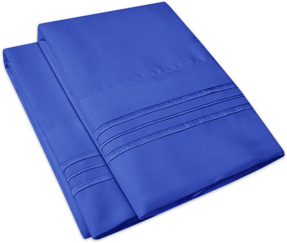 1500 Supreme Collection 2 Pack Bed Pillowcases - Luxury Embroidered Premium Softness and Wrinkle Resistant Breathable Additional Pillowcases for Bed Sheets - King, Royal Blue