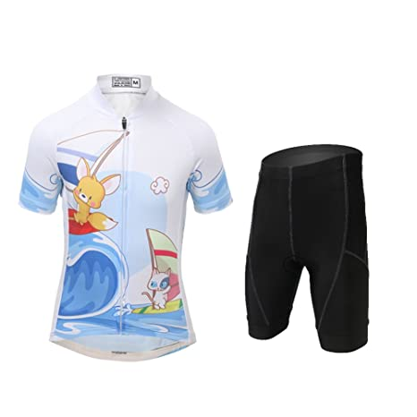 FREE FISHER Unisex Kids Cycling Jersey Breathable Cartoon Road Mountain  Bike Jersey 248a1f0b2