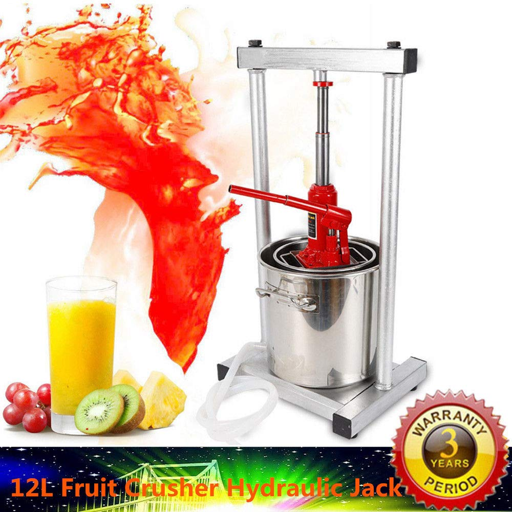 12L Fruit Crusher Pulp Apple Cider 304 Stainless Steel Wine Juice Press Grinder Hydraulic Grinder for Kitchen Vegetable and Fruit Lovers (UPGRADED Version) by GDAE10