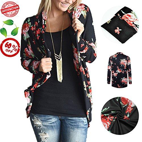Women Chiffon Kimono Floral Casual Loose Boho Cardigan Thin Coat - 9