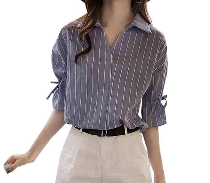Monika Primavera y Otoño Mujeres Moda Solapa Media Manga Camisas Tops Blusa Casual Suelto Rayas Blouses