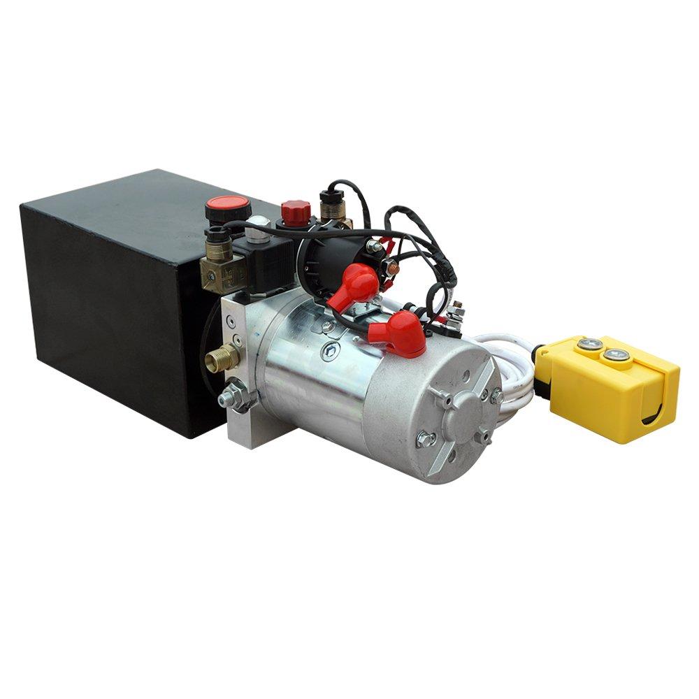 High Quality Double Acting Hydraulic Pump12v Dump Waltco Pump Wiring Diagram Trailer 6 Quart 3200 Psi Max Home Improvement