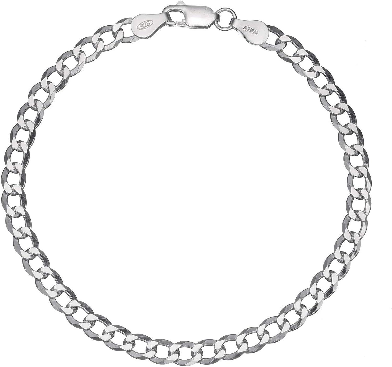 Solid 925 Sterling Silver Mens Italian 5mm Cuban Curb Link Chain Bracelet 7-9