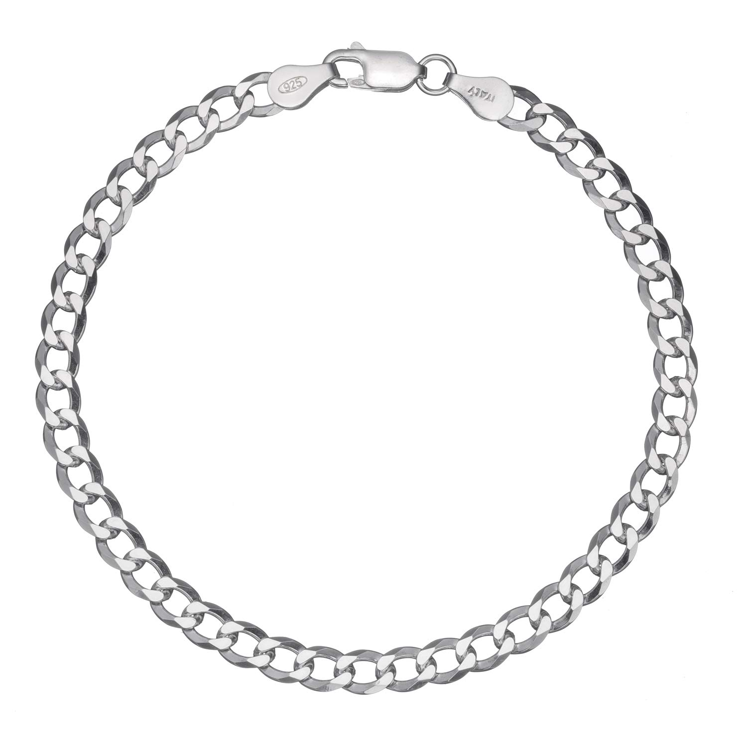 Solid 925 Sterling Silver Men's Italian 4.5mm Cuban Curb Link Chain Bracelet 7' - 8' Bling For Your Buck