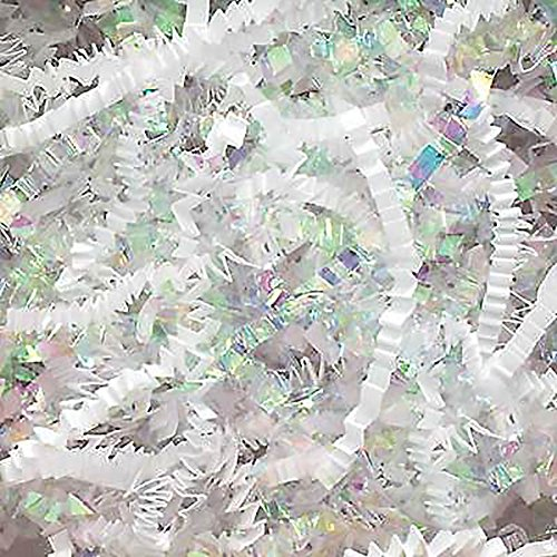 Custom & Unique {4 Ounces} of Crinkle Cut Shredded Gift Basket Filler Paper Made From Cardstock w/ Light Iridescent Fancy Spring Time Bridal Easter Matte & Shiny Mix Holiday Design (White & Silver)