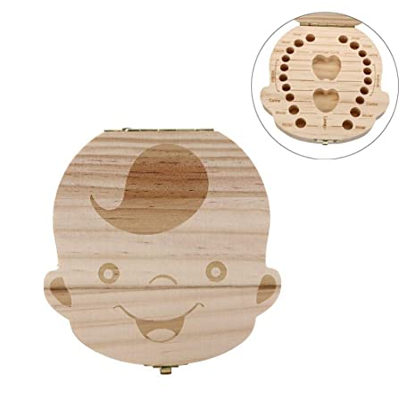 Creative Personalised Wooden Baby Tooth Box Deciduous Tooth Box Lanugo Save Box