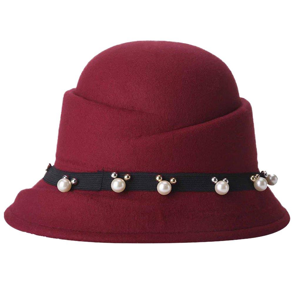 Dosige Sombrero de cubo decorativo para mujer Sombrero de fieltro de moda Sombrero elegante Gorro de...