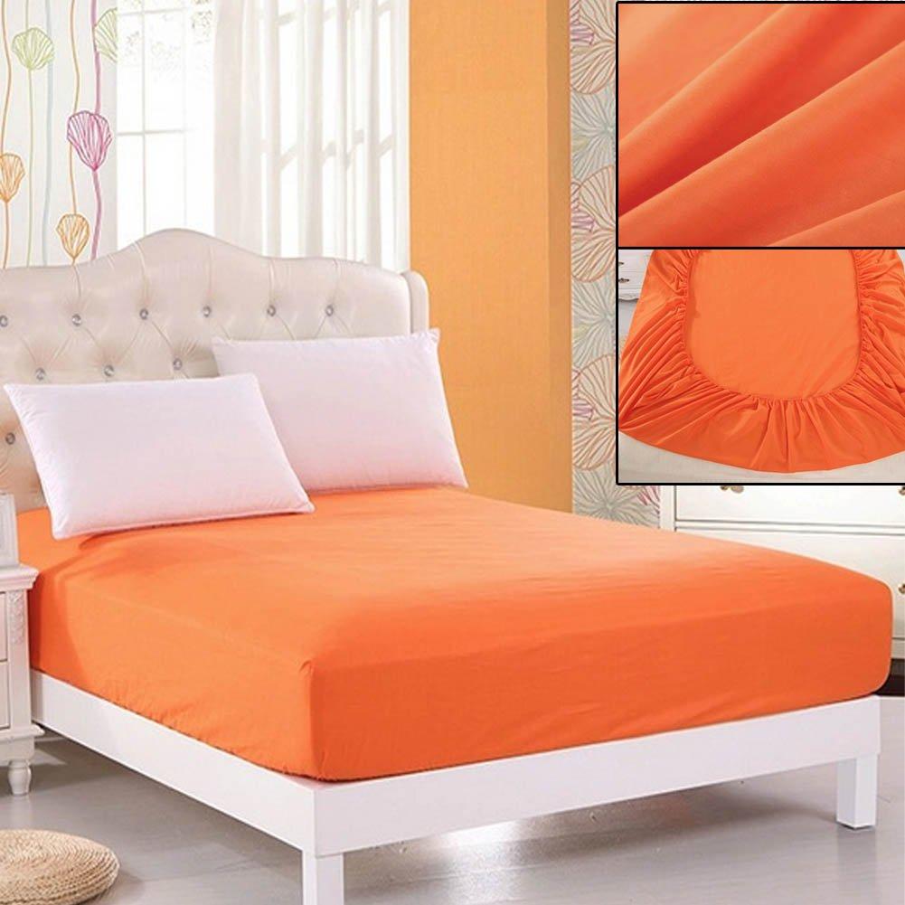 Doppel- Orange 120cm x 200cm VOOYE Bett Tief Spannbettlaken Perkal betttuches Feinste Pad Protektorenjacke Qualit/ät Dick f/ür Matratze f/ür Einzel- King Size und Super King