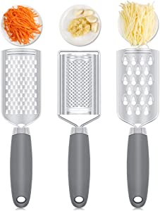 3 Pieces Kitchen Food Grater,Stainless Steel Graters Zester Kits with Anti-rust Rubber Grip, Handheld Multi-purpose Kitchen Grater for Cheese, Vegetables, Lemon, Lime,Ginger and Garlic