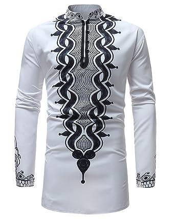 T-Shirt Africain Chemise À Manches Longues Hommes Africain Dashiki  Graphique Pullover T-Shirt pour Hommes Tribal Festival Tops  Amazon.fr   Vêtements et ... 6e9fa582945