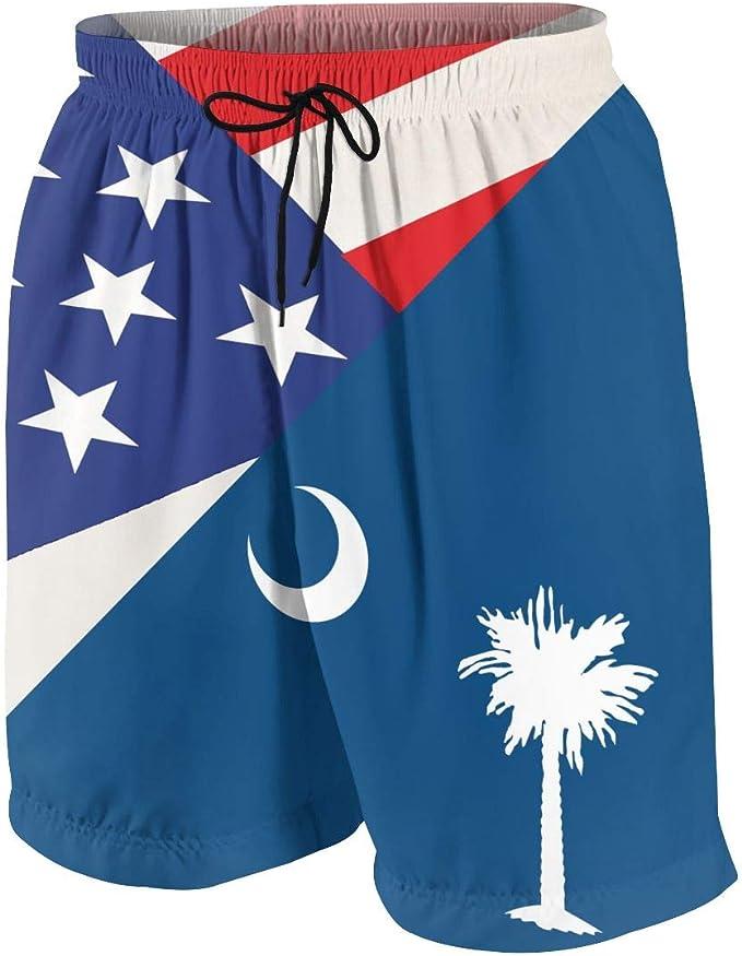 Men Summer North Carolina-Flag US State Quick Dry Volleyball Beach Shorts Board Shorts
