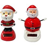 DINGJIN 2 件套太阳能跳舞玩具圣诞老人可爱太阳能跳舞玩偶摇摆动动动动漫摇摇滚舞者玩具汽车装饰