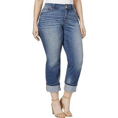 7fb5618dafae INC Womens Plus Crop Mid-Rise Straight Leg Jeans Blue 24W at Amazon Women s  Jeans store