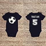 Product review for Handmade Newborn Baby Soccer Ball Black Onesie Bodysuit Personalized Name & Number on the back