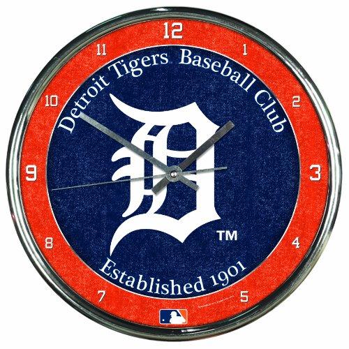 (MLB Detroit Tigers Chrome Clock, 12