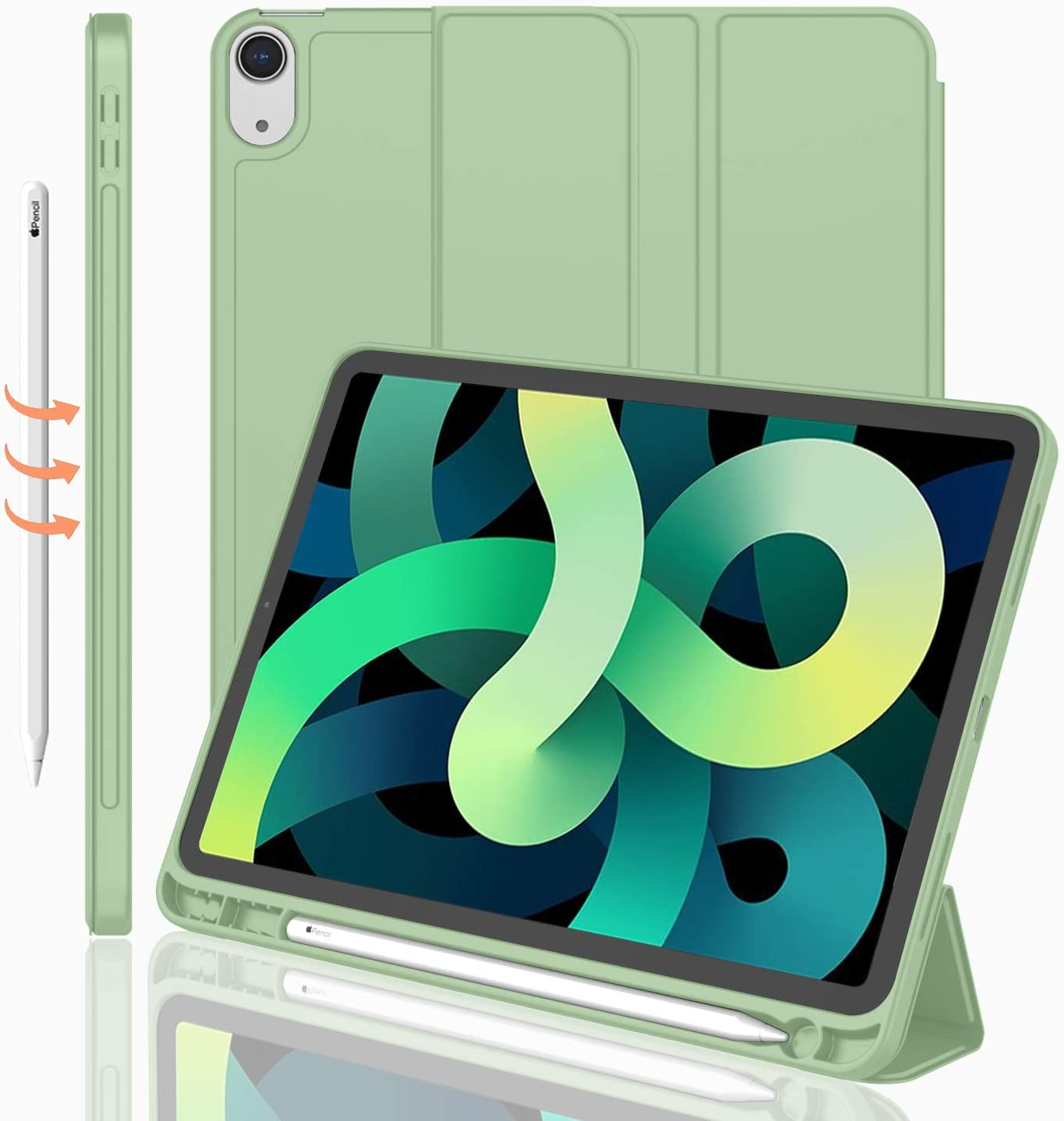 iMieet iPad Air 4th Generation Case 2020, iPad 10.9 Inch Case 2020 with Pencil Holder [Support Touch ID and iPad 2nd Pencil Charging/Pair], Trifold Stand Smart Case with Soft TPU Back (Matcha Green)