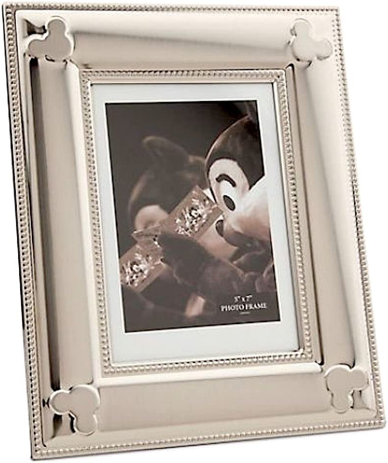 Disney Baby Photo Frame with Stand in Silver for Newborn or Children Mickey Mouse Design