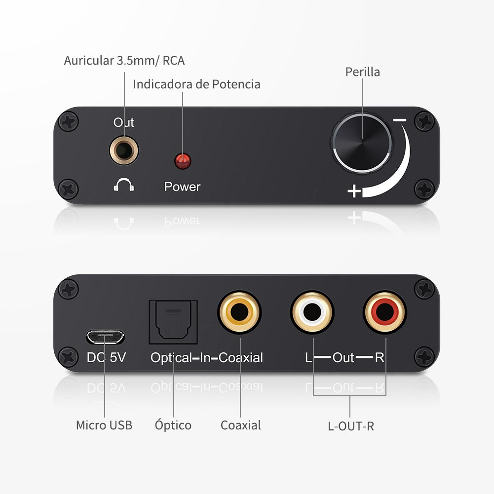LOETAD Convertidor de Audio Digital a Analágico Conversor DAC de 192 KHz Coaxial Óptico Toslink Señal a Adaptador de Analágico Estéreo RCA L/R con Salida de ...